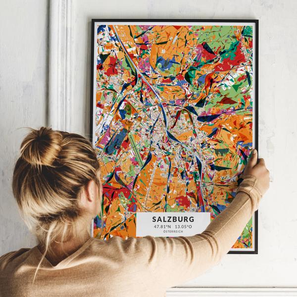 City-Map Salzburg im Stil Kandinsky