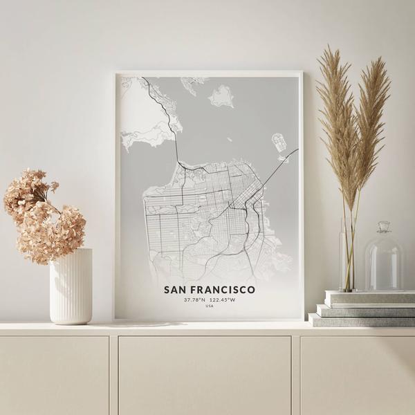 City-Map San Francisco im Stil Elegant