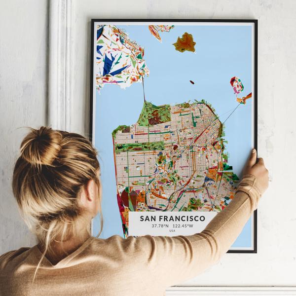 City-Map San Francisco im Stil Kandinsky