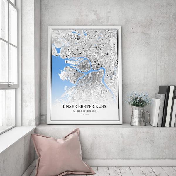 Stadtkarte Sankt Petersburg im Stil Schwarzplan