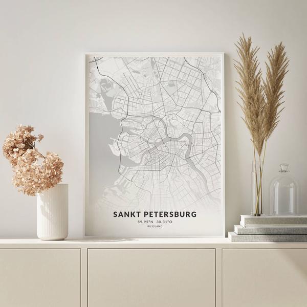 City-Map Sankt Petersburg im Stil Elegant