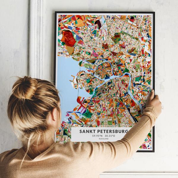 City-Map Sankt Petersburg im Stil Kandinsky