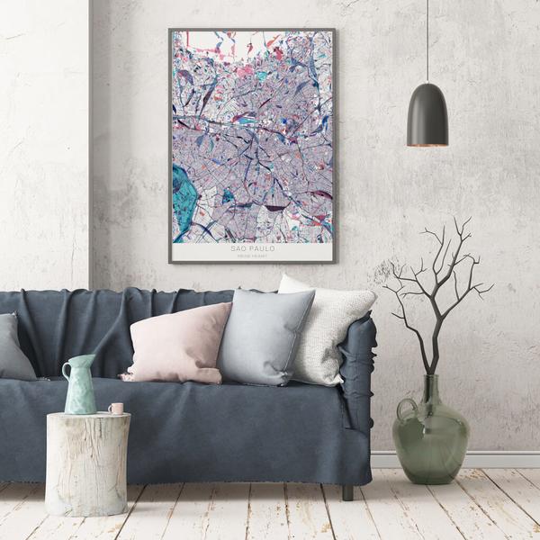 Stadtkarte Sao Paulo im Stil Primavera