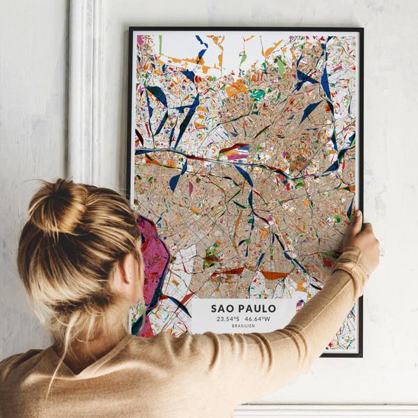 City-Map Sao Paulo im Stil Kandinsky