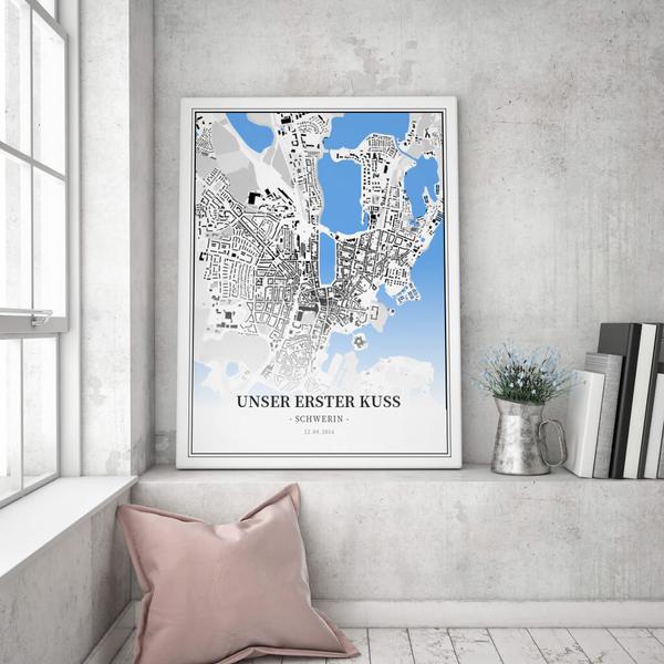 Stadtkarte Schwerin im Stil Schwarzplan