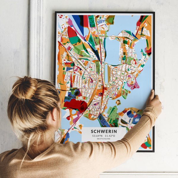 City-Map Schwerin im Stil Kandinsky