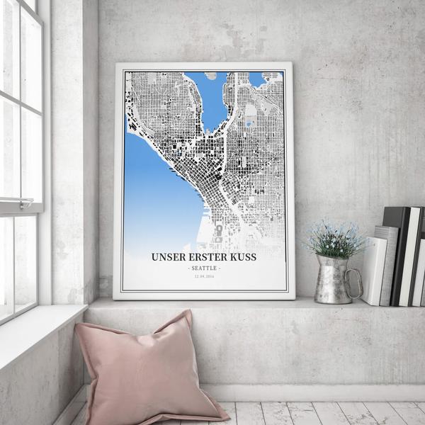 Stadtkarte Seattle im Stil Schwarzplan