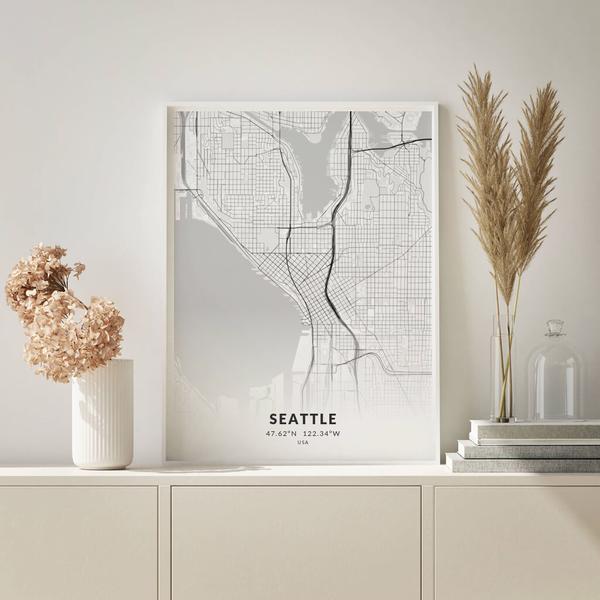 City-Map Seattle im Stil Elegant