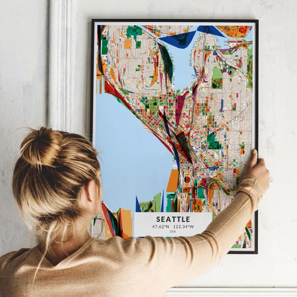 City-Map Seattle im Stil Kandinsky
