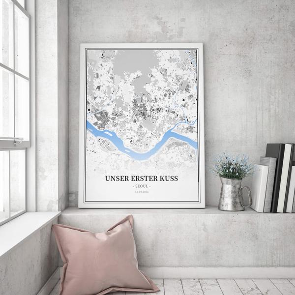 Stadtkarte Seoul im Stil Schwarzplan