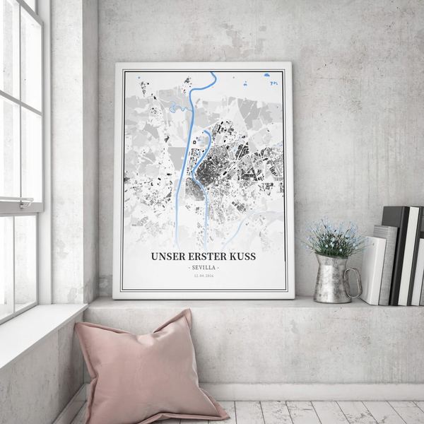 Stadtkarte Sevilla im Stil Schwarzplan