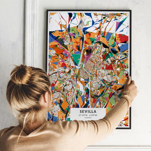 City-Map Sevilla im Stil Kandinsky