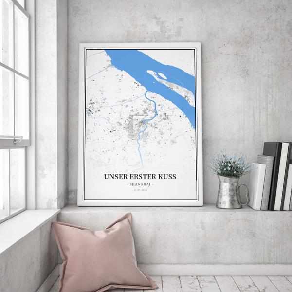 Stadtkarte Shanghai im Stil Schwarzplan