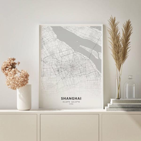 City-Map Shanghai im Stil Elegant