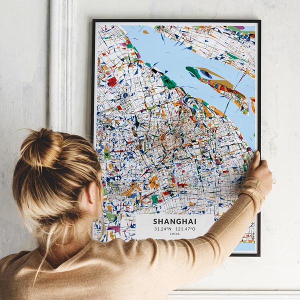 City-Map Shanghai im Stil Kandinsky