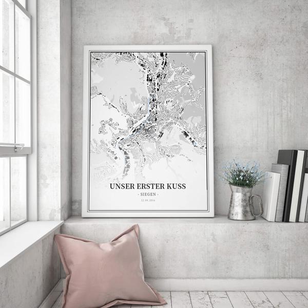 Stadtkarte Siegen im Stil Schwarzplan