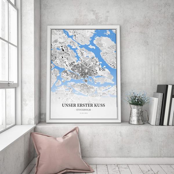 Stadtkarte Stockholm im Stil Schwarzplan
