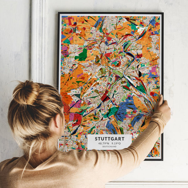 City-Map Stuttgart im Stil Kandinsky