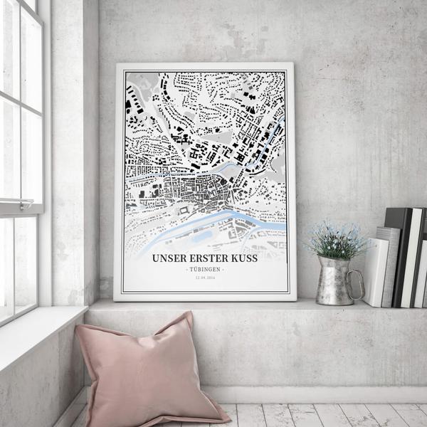 Stadtkarte Tübingen im Stil Schwarzplan