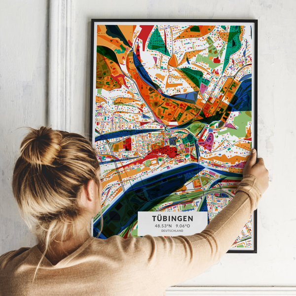City-Map Tübingen im Stil Kandinsky