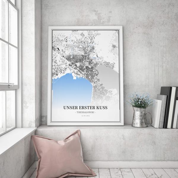 Stadtkarte Thessaloniki im Stil Schwarzplan
