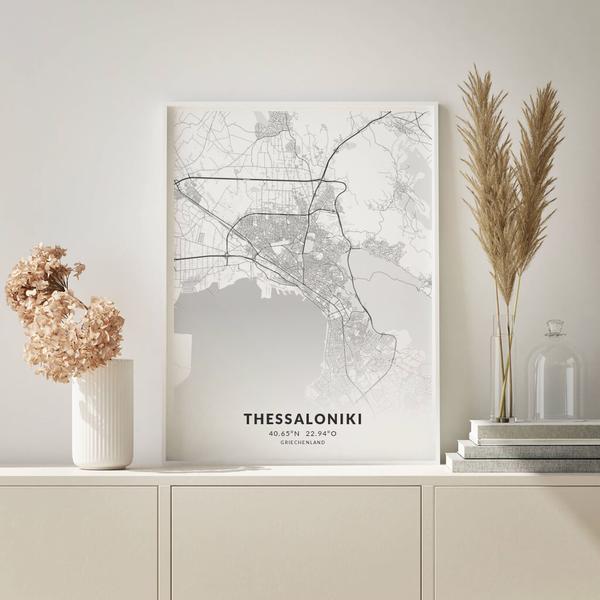 City-Map Thessaloniki im Stil Elegant