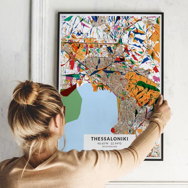 City-Map Thessaloniki im Stil Kandinsky