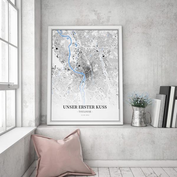 Stadtkarte Toulouse im Stil Schwarzplan