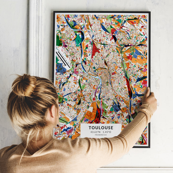 City-Map Toulouse im Stil Kandinsky