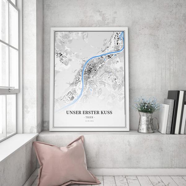 Stadtkarte Trier im Stil Schwarzplan