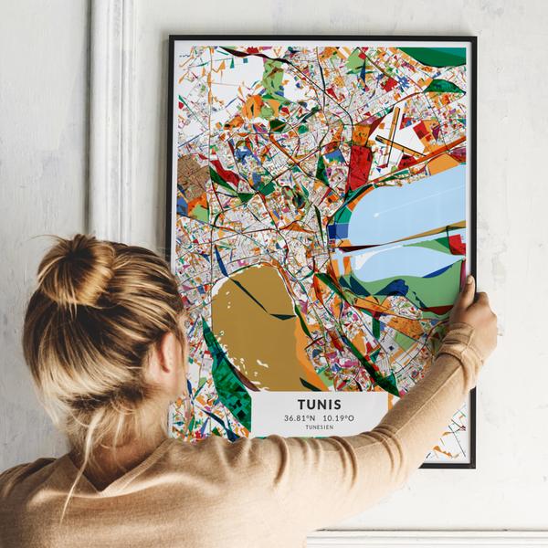 City-Map Tunis im Stil Kandinsky