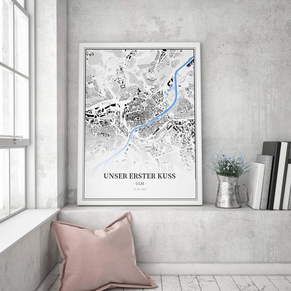Stadtkarte Ulm im Stil Schwarzplan