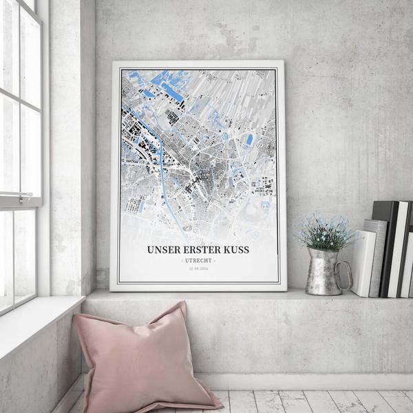Stadtkarte Utrecht im Stil Schwarzplan