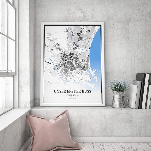 Stadtkarte Valencia im Stil Schwarzplan