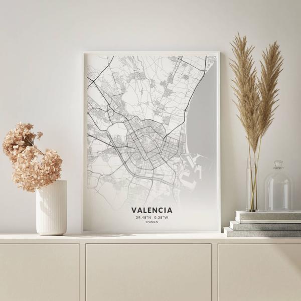 City-Map Valencia im Stil Elegant