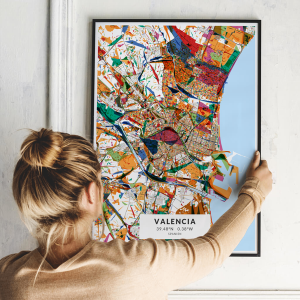 City-Map Valencia im Stil Kandinsky