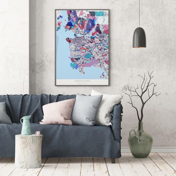 Stadtkarte Vancouver im Stil Primavera