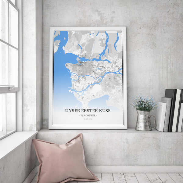 Stadtkarte Vancouver im Stil Schwarzplan