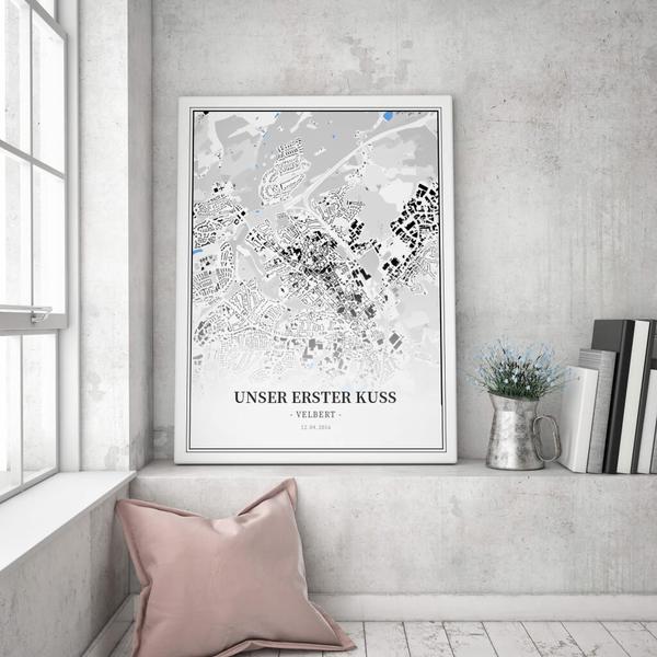 Stadtkarte Velbert im Stil Schwarzplan