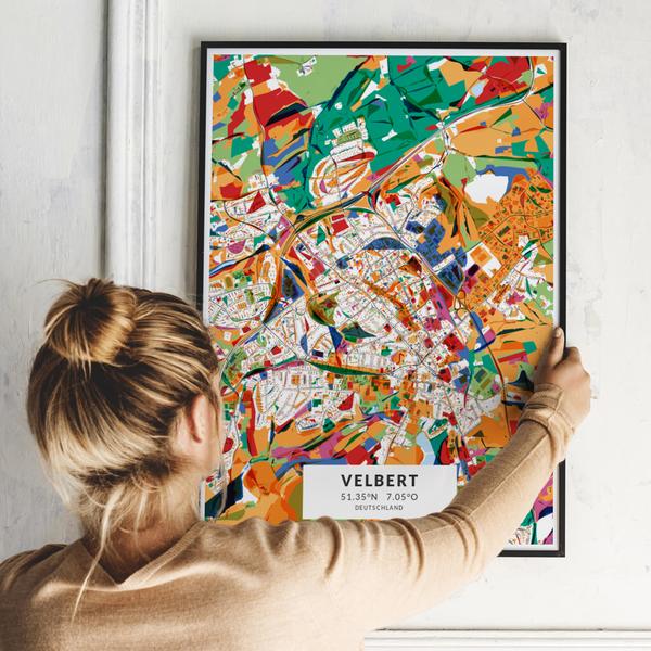 City-Map Velbert im Stil Kandinsky