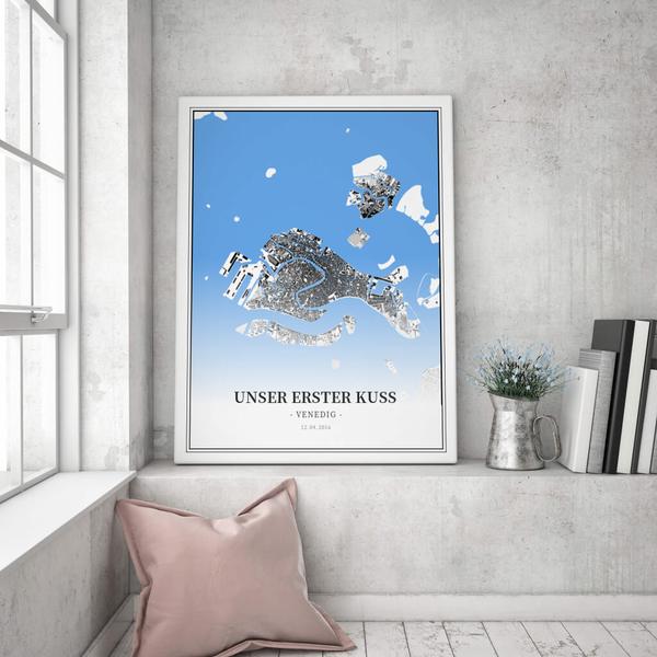 Stadtkarte Venedig im Stil Schwarzplan