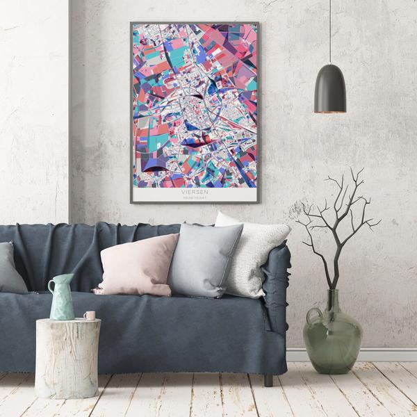 Stadtkarte Viersen im Stil Primavera