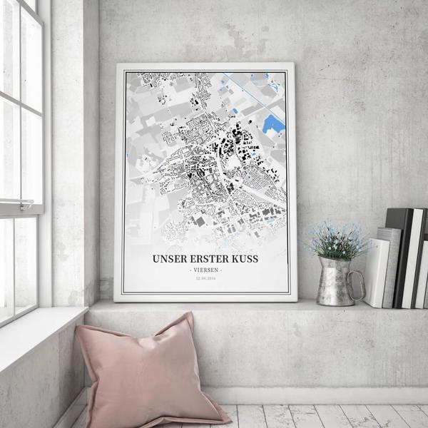 Stadtkarte Viersen im Stil Schwarzplan