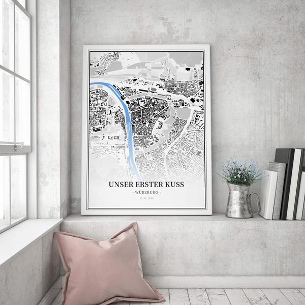 Stadtkarte Würzburg im Stil Schwarzplan