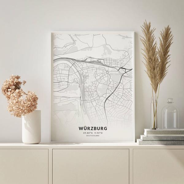City-Map Würzburg im Stil Elegant