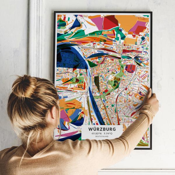 City-Map Würzburg im Stil Kandinsky