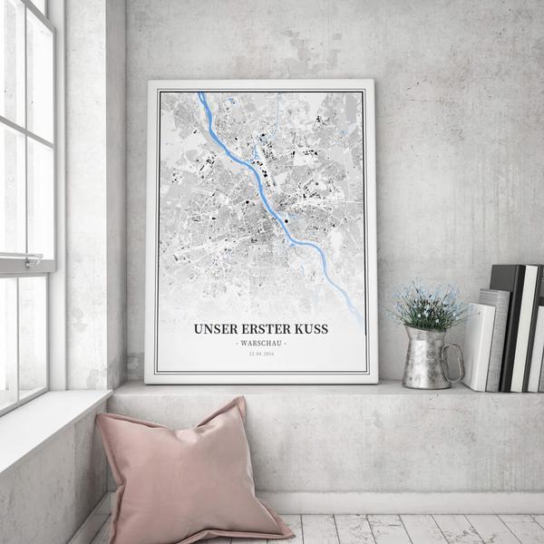 Stadtkarte Warschau im Stil Schwarzplan
