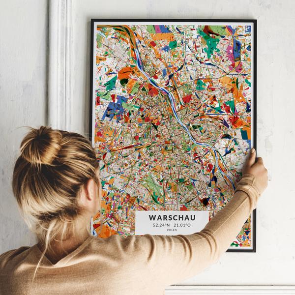 City-Map Warschau im Stil Kandinsky