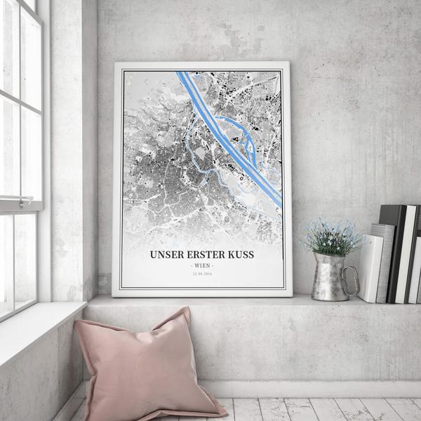 Stadtkarte Wien im Stil Schwarzplan