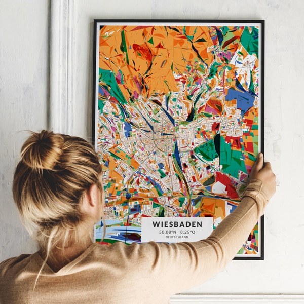 City-Map Wiesbaden im Stil Kandinsky